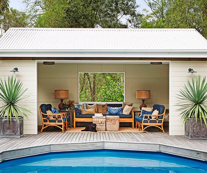 Outdoor pool room and decking
