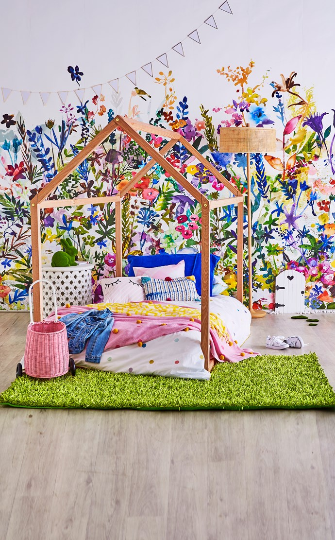"""""""I started with wallpaper as my inspiration for creating a bright, floral scheme full of quirky fun and hidden surprises,"""" says Fiona."""