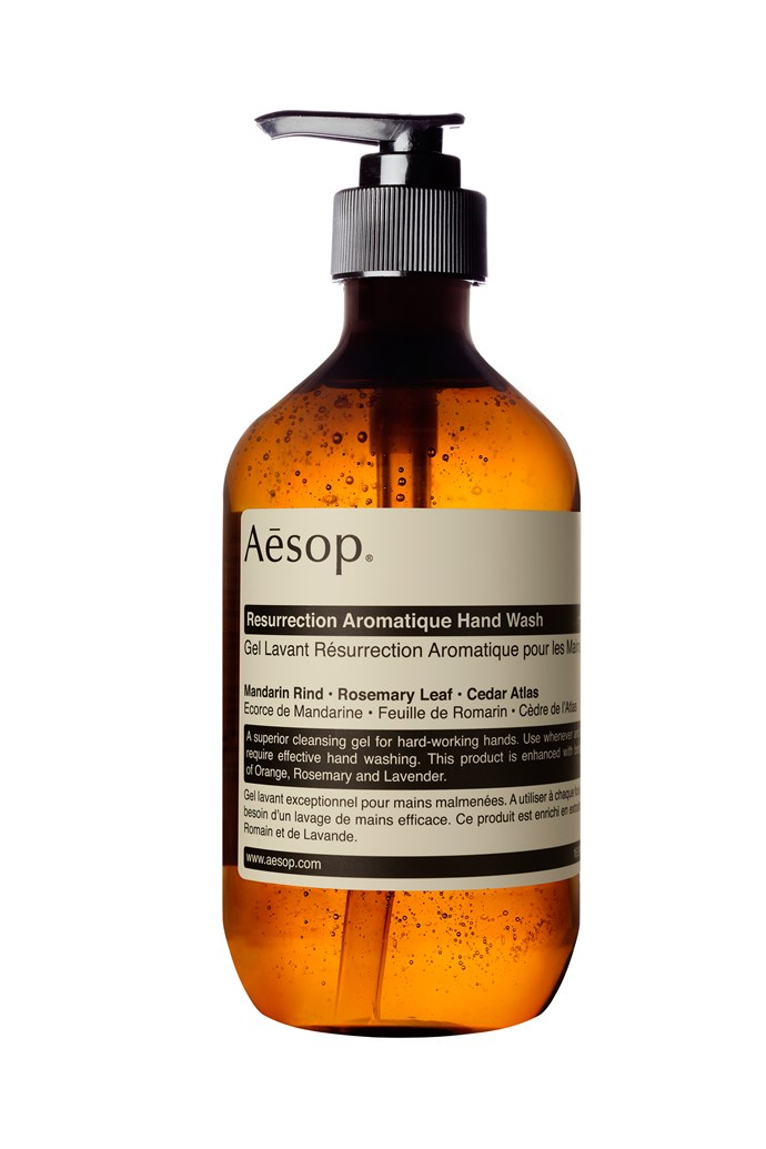 "'Resurrection' Aromatique hand wash, $40, [Aesop](https://www.aesop.com/au/p/body/hand/resurrection-aromatique-hand-wash/?siteName=Aesop%20Australia|target=""_blank""|rel=""nofollow"")"