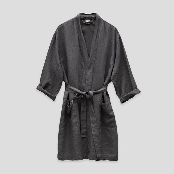 """100% Linen Robe in Charcoal, $140, [In Bed Store](https://inbedstore.com/shop/sleepwear/100-linen-robe-in-charcoal/