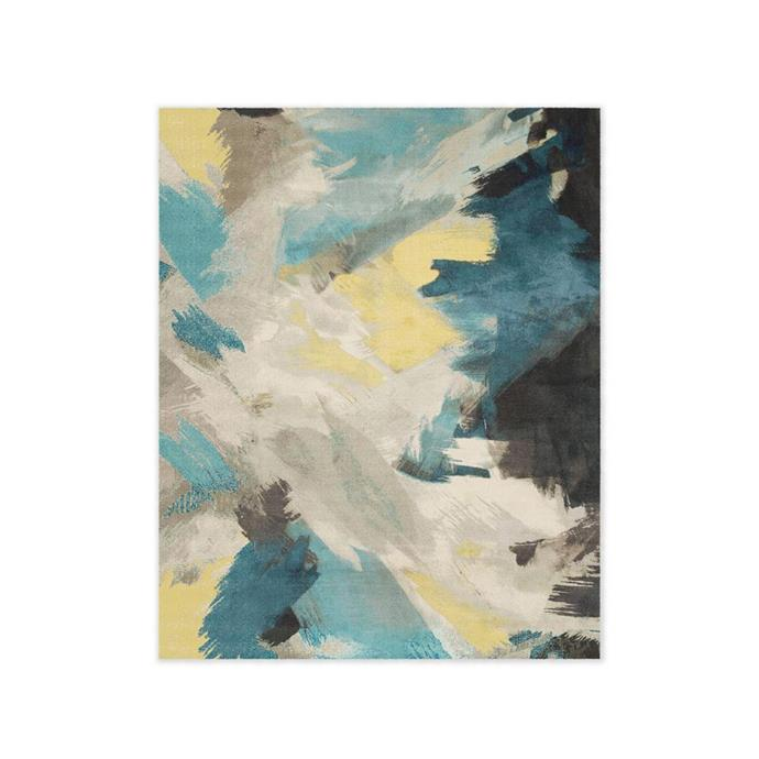 "Expressionist Printed Rug, $499 at [West Elm](http://www.westelm.com.au/expressionist-printed-rug-teal-t3145|target=""_blank""