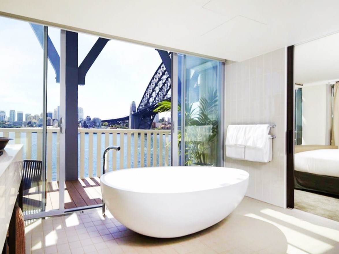"Can quite bring yourself to bathe outdoors?  Built on the water with its own private pontoon and panoramic Sydney Harbour views, Pier One Sydney Harbour offer suites featuring a freestanding bath perched in front by a private balcony, so you can soak up the view from the privacy of your room. Visit [pieronesydneyharbour.com.au](https://www.pieronesydneyharbour.com.au/|target=""_blank""