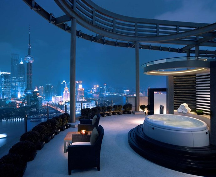 **Diplomat Suite, Hyatt on the Bund, Shanghai, China** <br><br> Hyatt on the Bund offers spectacular views of the Bund and Huangpu River, while the hotel's marble bathrooms include a giant rain shower and a soaking bathtub.