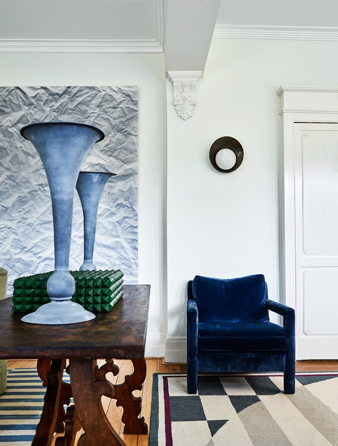 Mohair velvet chair from Jason Mowen. Vintage Pucci rug.