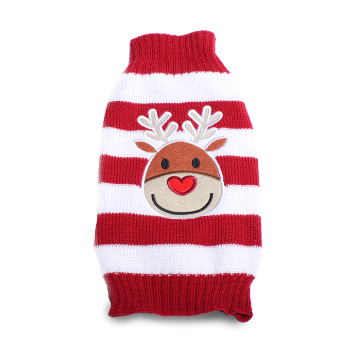 "Christmas Dog Sweater, from $19.90, [Pet Threads](https://petthreads.com.au/shop/dog-costumes/christmas/christmas-dog-sweater/|target=""_blank"")"