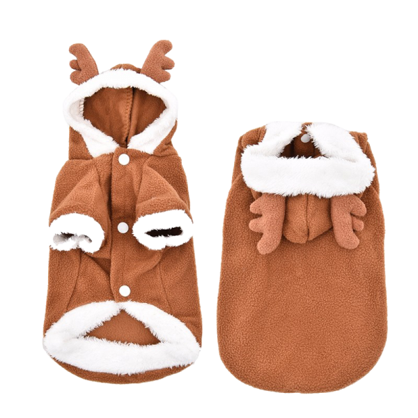 "Reindeer Dog Costume, from $24.90, [Pet Threads](https://petthreads.com.au/shop/dog-costumes/christmas/reindeer-dog-costume/|target=""_blank"")"