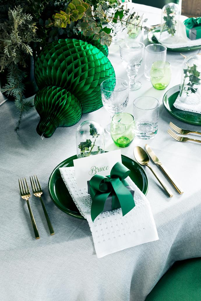 Green plates, Robert Gordon Australia. Glassware, Provincial Home Living. Gold cutlery and chairs, The Design Depot. Napkin fabric, Spotlight. Paper lanterns, Nyary.