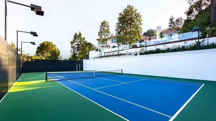 Active life: The tennis court, much like the rest of the house, is sprawling and beautifully maintained.