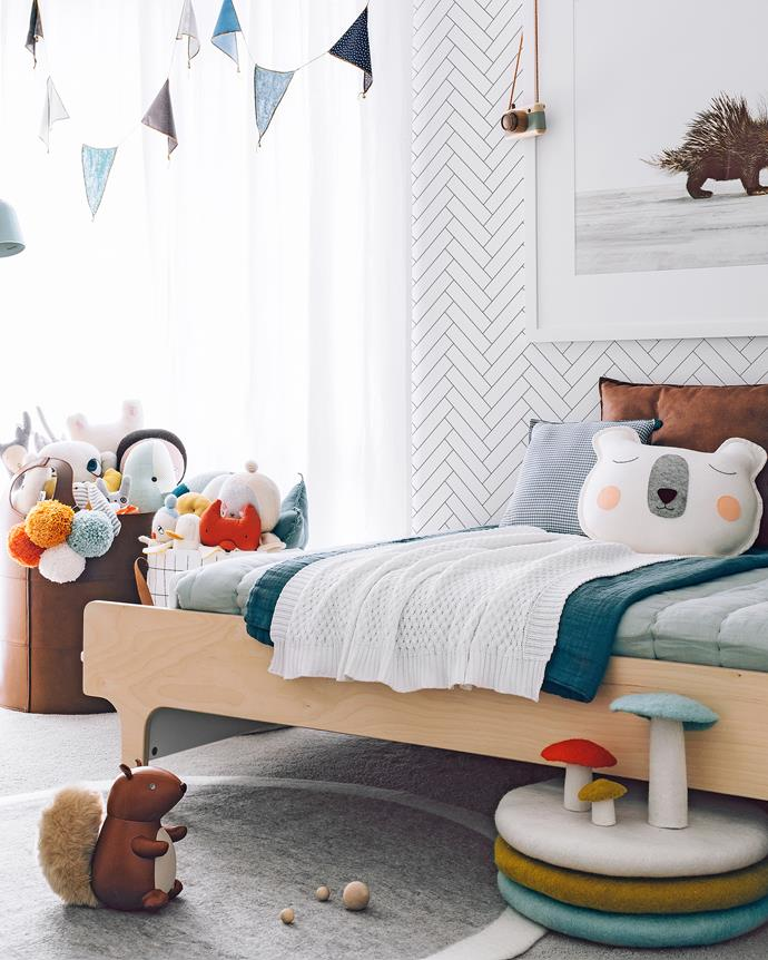 Bed, from Urban Baby; rug and garland, from Talo Interiors.