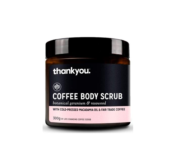 "*Social enterprise Thankyou offers eco-aware bodycare, food and baby products, and directs all profits to people in need.* <br><br> Coffee Body Scrub, $15 at [Priceline](http://fave.co/2kup965|target=""_blank""