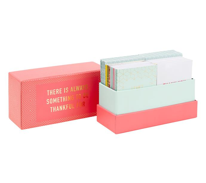 """Kikki K Boxed Inspiration card set, $49.95 for 52 cards, from [Myer](https://fave.co/2PPZOp9