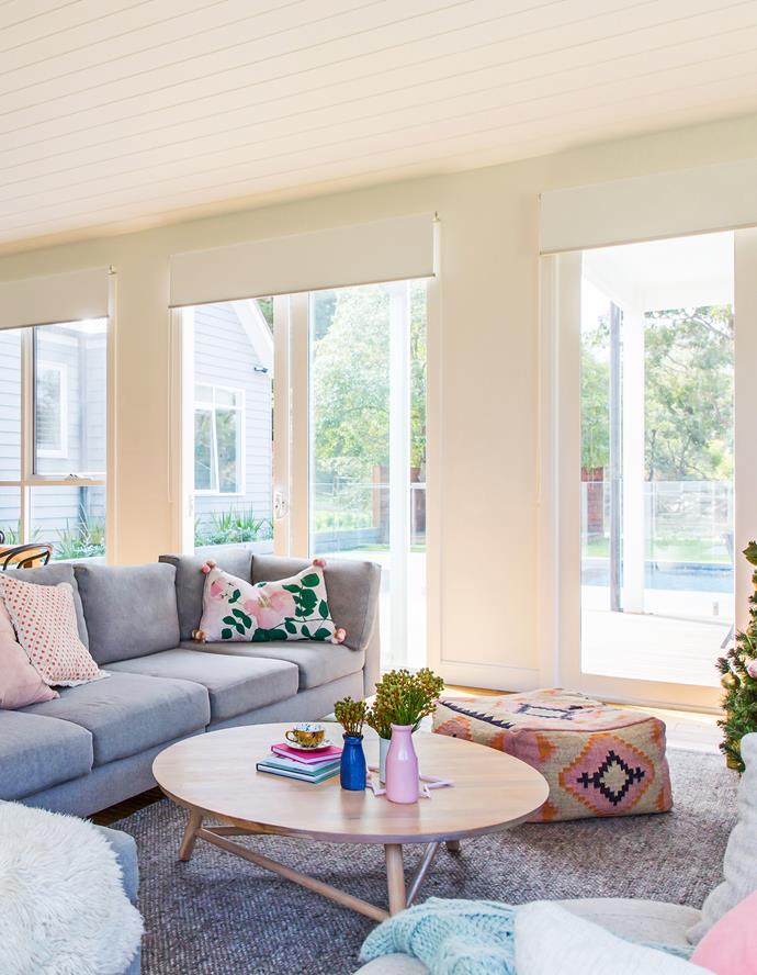 A Plush modular sofa in calming light grey fabric creates the perfect spot to relax and entertain.