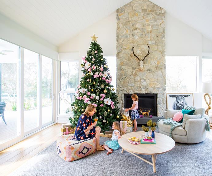 This year they decorated their tree with faux flowers from Freedom and Mynd Interiors and a gold star from Spotlight.