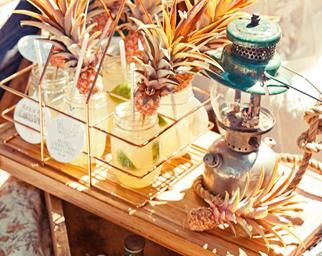 Cocktails on a bar cart
