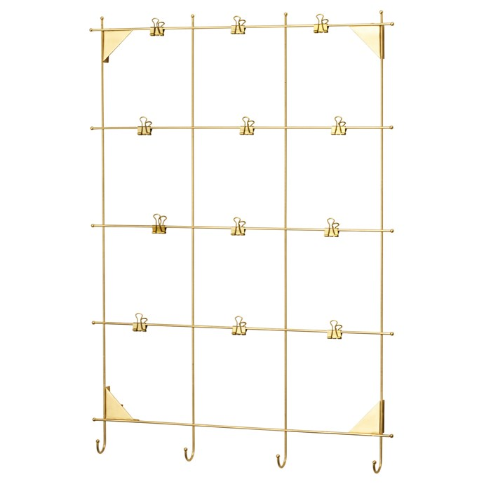 """Keep invitations, letters, photos and lists strung up in style with the MYRHEDEN brass frame, $14.99, from [IKEA](http://www.ikea.com/au/en/catalog/products/90338243/?query=myrheden