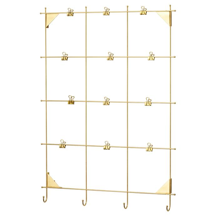 "Keep invitations, letters, photos and lists strung up in style with the MYRHEDEN brass frame, $14.99, from [IKEA](http://www.ikea.com/au/en/catalog/products/90338243/?query=myrheden|target=""_blank"")"