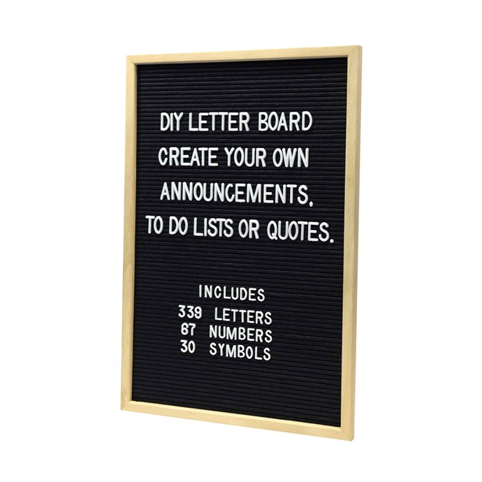 """Whether it's daily reminders, messages to your family or important dates - keep track of life in style with this DIY letter board, $12, from [Kmart](http://www.kmart.com.au/product/diy-letter-board/1821307 