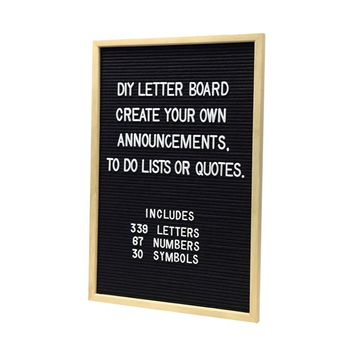 "Whether it's daily reminders, messages to your family or important dates - keep track of life in style with this DIY letter board, $13, from [Kmart](https://www.kmart.com.au/product/diy-letter-board/3061321|target=""_blank"")"