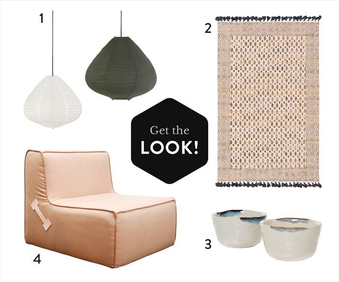 "1. HK Living cotton lanterns in Natural (left) and Army Green, $249 each, [Norsu Interiors](https://norsu.com.au/collections/light/products/hk-living-fabric-lantern-natural|target=""_blank""). 2. 'Aquarius' cotton rug (1.2x1.8m), $199, [Amigos de Hoy](https://amigosdehoy.com/product-category/rugs/