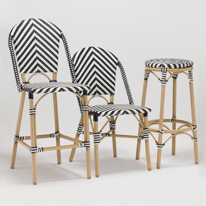 "Back Bar Stool, $229 at [Milan Direct](https://www.templeandwebster.com.au/Black-and-White-Outdoor-Cafe-High-Back-Barstool-BQPHBBWWFixed-TPWT2722.html|target=""_blank"")."