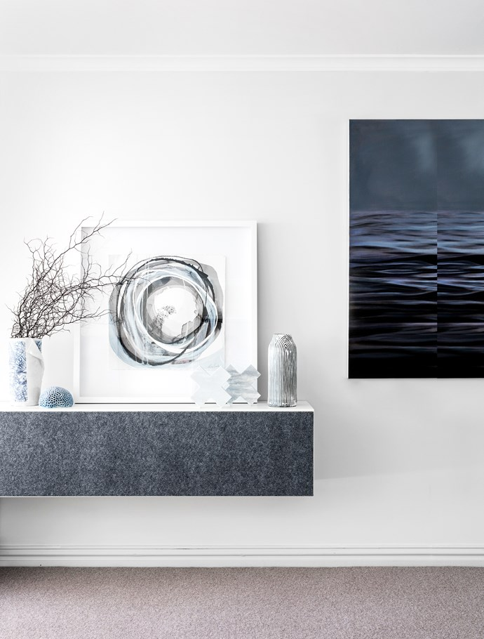 Mono L3 framed artwork by Lara Scolari sits on custom-made console with Moonlight artwork by Leanne Thomas to the right.