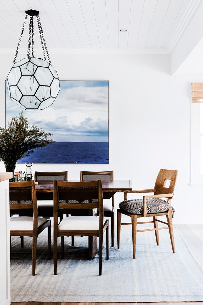 At first sight, the evocative seascape by Chris Langlois looks like another window onto the sea. Clate Grunden Lighting 'Honeycomb' pendant light, Tower 20.