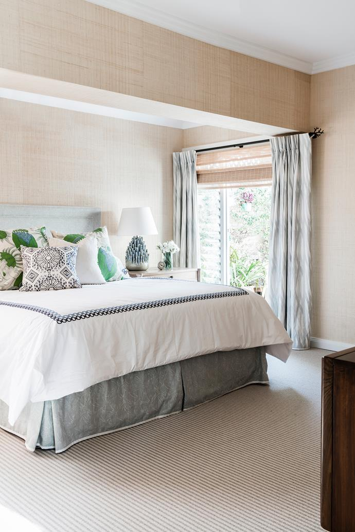 Phillip Jeffries woven 'Island Raffia' on the walls creates a softer effect in this room.