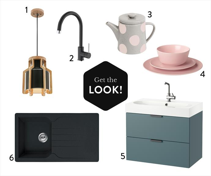 1. Mercator Fiesta pendant light in Matt Black, $99, from Temple & Webster. 2. Dorf Obsidian sink mixer in Matt Black, $260, from Bunnings. 3. Rituals porcelain  teapot, $29.95, from Kikki.K. 4. Dinera 18-piece dinner set in Light Pink, $29.99, from Ikea. 5. Godmorgon Braviken washstand in Grey/Turquoise, $474 (excluding mixer), from Ikea. 6. Mondella Vivace single bowl sink with drainer in Black, $379, from Bunnings.