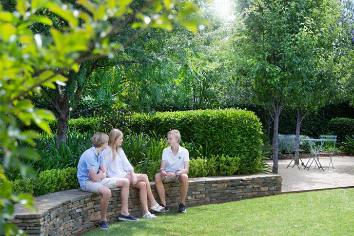 The Seaton children – Harry, 14, Ella, 19, and Will, 16 – perch on a curved bluestone wall in the front garden.
