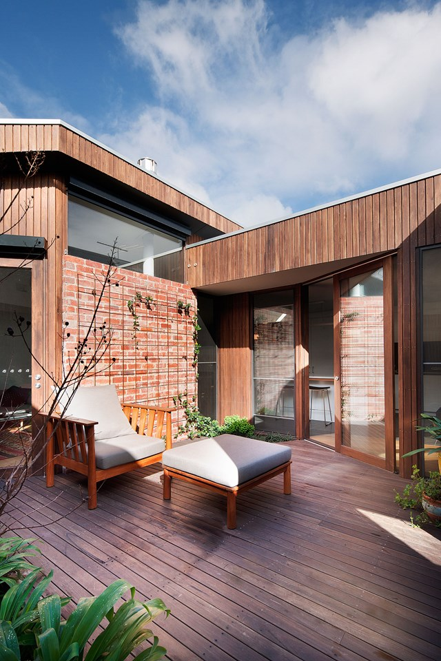 "A central courtyard was added to this [Federation home in Melbourne's Fitzroy](https://www.homestolove.com.au/federation-home-melbourne-fitzroy-modern-renovation-6216|target=""_blank""