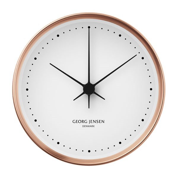 "Koppel 22cm Wall Clock in Copper, $395, [Georg Jensen](https://www.georgjensen.com/en-au/home-decor/clocks-and-weather-stations/koppel-22-cm-wall-clock-copper-with-white-dial/3587523.html?cgid=413#start=9|target=""_blank""
