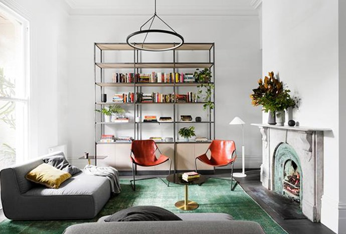 """Crowning this living room is a pendant light that was created by Architect Nick Harding in conjunction with Christopher Boots, bringing an element of modern-style to this [Victorian terrace](https://www.homestolove.com.au/majestic-renovation-of-a-bayside-melbourne-terrace-5994 target=""""_blank"""")."""