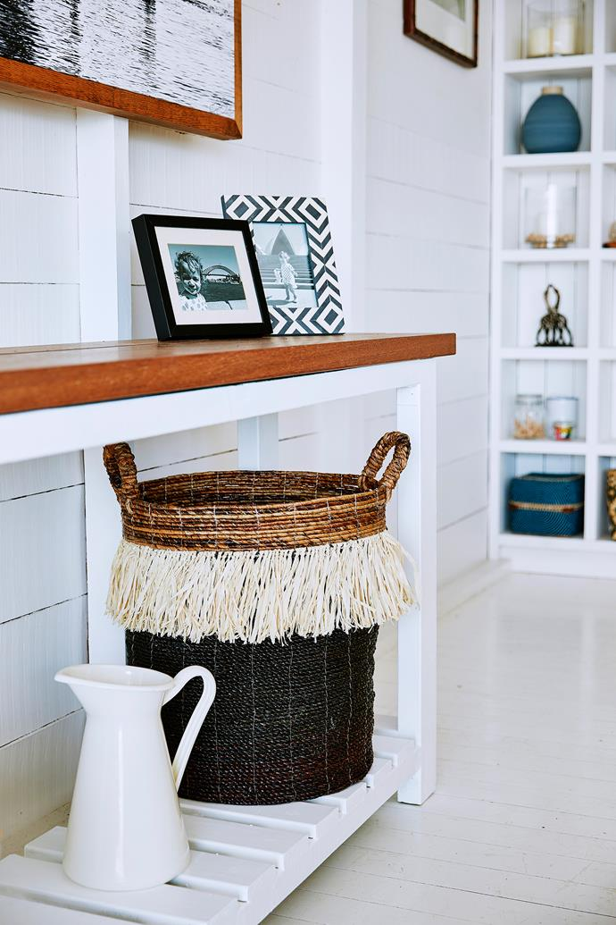 Stylish storage baskets are a great way to hide and organise bits and bobs.