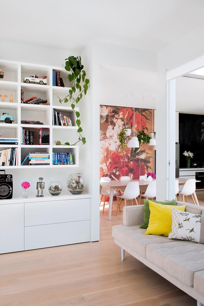 Smart storage solutions like built-in shelving provides a place to store and display things in an orderly fashion.