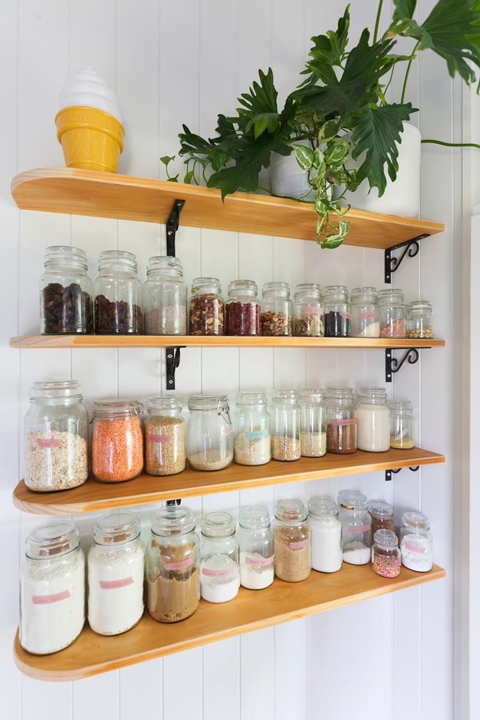 Neatly labelled jars on display can create a stylish vignette in a kitchen.