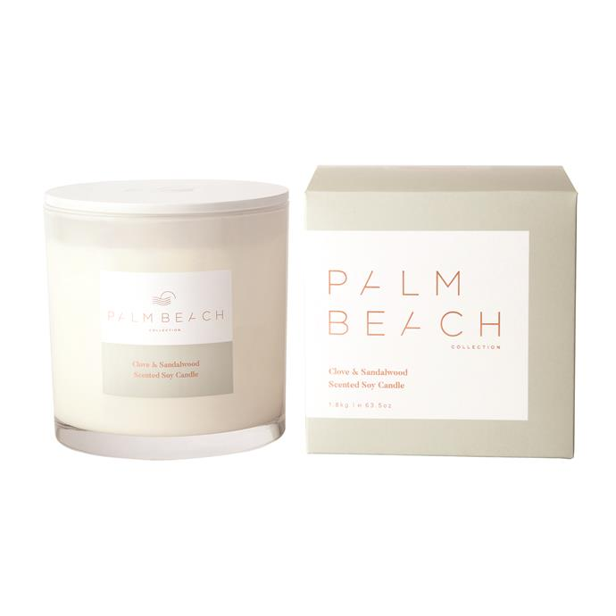 """Clove & Sandalwood deluxe candle, $99, [Palm Beach Collection](https://palmbeachcollection.com.au/