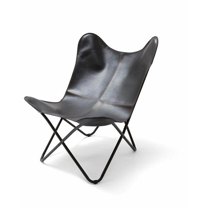 Butterfly chair in black, $39.