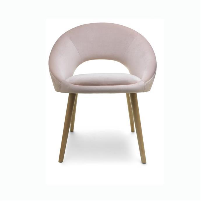 Velvet occasional chair in blush, $49.
