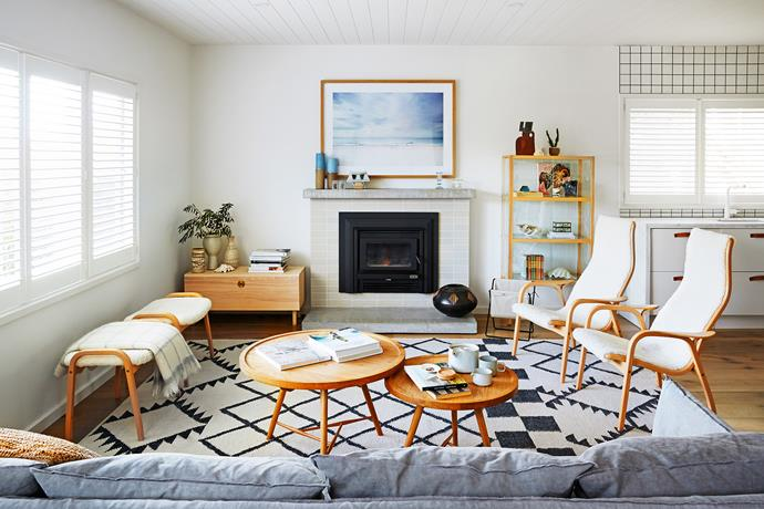 Lambswool Swedese armchairs and a loose-slipcover sofa are practical and cosy for a family living by the beach.