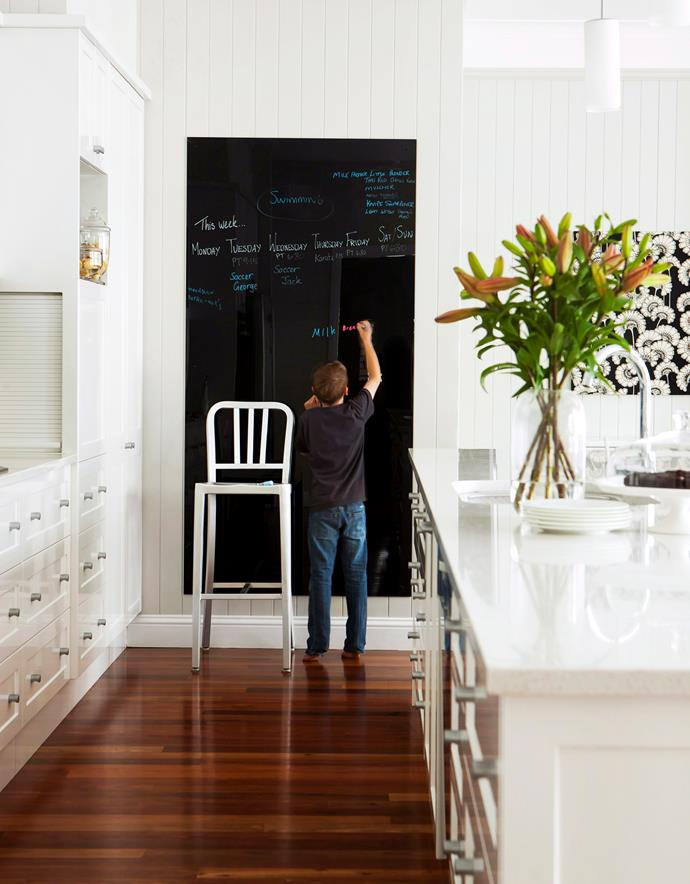 Make chalk paint your friend and create a family blackboard to keep track of appointments, due dates and other tasks.