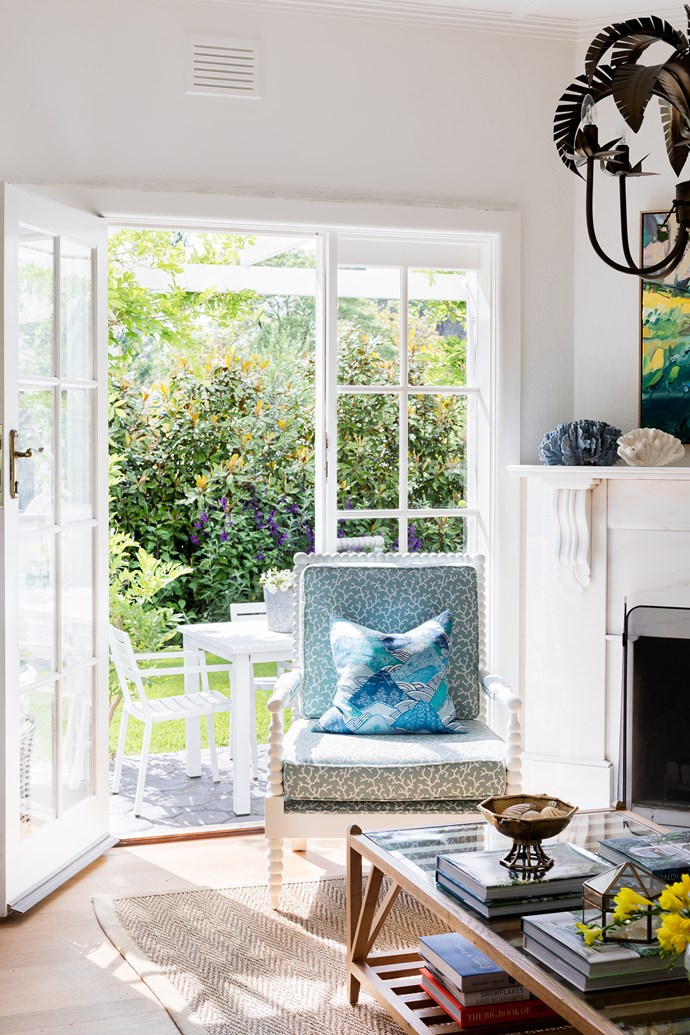 """I pick a lot of flowers from the garden,"""" says Kate. Dining table, sofa, coffee table and rug, KWD."""