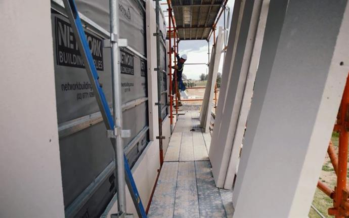 """NOVEMBER 20, 2017: HEBEL EXTERIOR CLADDING INSTALLED <br><br> House & Garden's My Ideal House edges nearer to completion at Crest by Mirvac, in Sydney's south west - its Hebel exterior cladding is now installed on the upper and ground floors. """"The beauty of using Hebel is that it goes up quickly,"""" says Roderick Petre, NSW Operations Manager for Mirvac. """"Once everything's ready, a whole floor can be completed in a couple of days."""" In terms of material performance, it's hard to beat Hebel. The thermal and acoustic properties of this autoclaved aerated concrete product are excellent and it delivers the homeowner a consistent, cohesive look. In addition to looking good, Hebel offers some great environmental benefits. """"Building any new home will have some environmental impact, but Hebel treads fairly lightly on the planet,"""" says Melissa Nguyen, marketing & brand manager for CSR Hebel. """"Independent testing shows that the PowerPanels installed on My Ideal House use 60 per cent less embodied energy and produce 55 per cent less greenhouse emissions compared to concrete or brick veneer, making it a more sustainable and environmentally friendly choice of building material."""""""