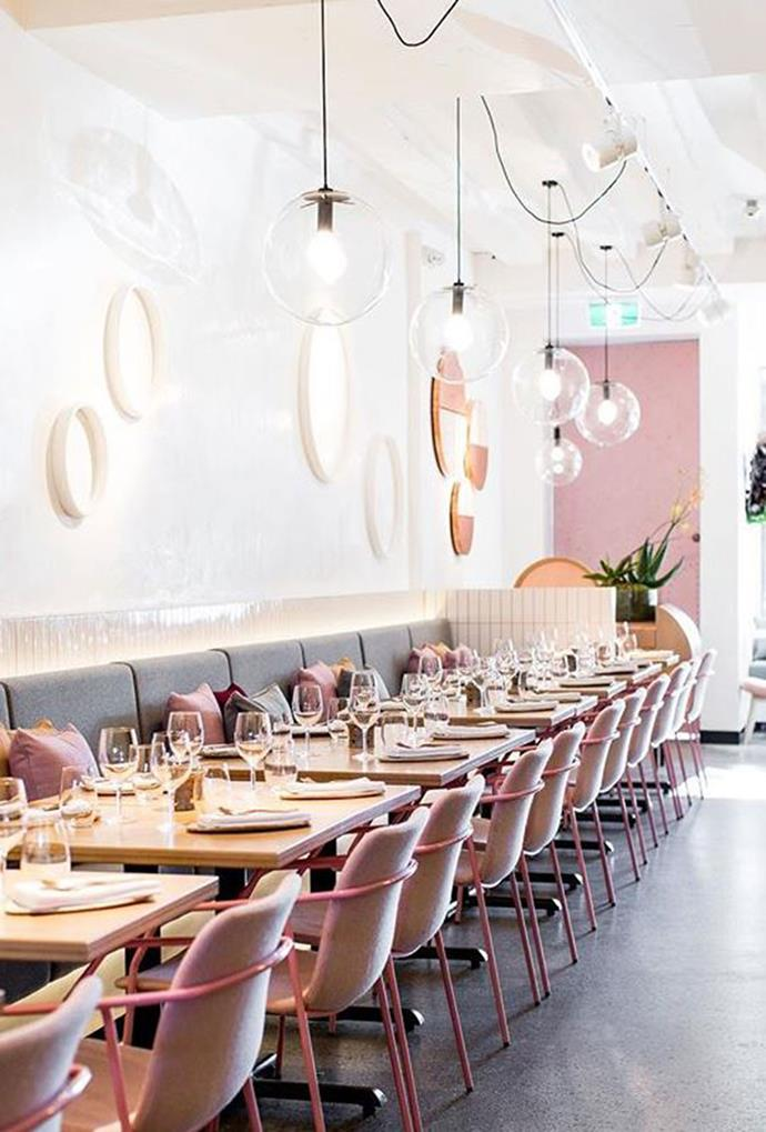 """**Nour** <br><br> This modern Lebanese restaurant, Nour, in Sydney is incredibly dreamy. After all, 'nour' means 'light' in Lebanese, and when caught by the light, those pastel pink chairs and hanging light fittings scream chic. *Photo via [@nourrestaurant](https://www.instagram.com/p/BTIU2vPAUjp/?taken-by=nourrestaurant