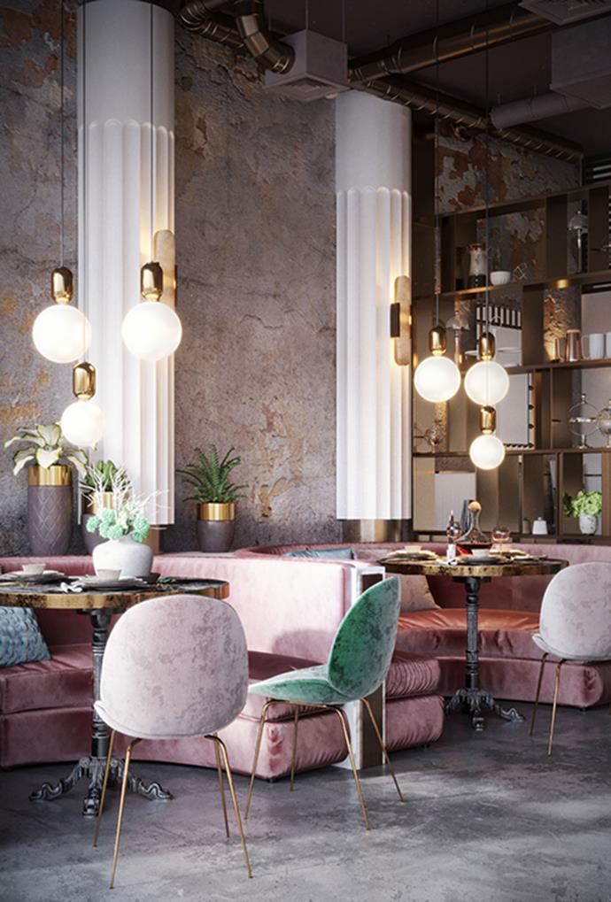 """**Restaurant №2** <br><br> Restaurant №2, which was refitted by interior designer Maxim Tsiabus, features velvet lounges and chairs in pastel blues, greens and pinks, which are complemented by hanging pendant lights and exposed brick walls. *Photo via [Maxim Tsiabus](https://www.behance.net/tsiabus