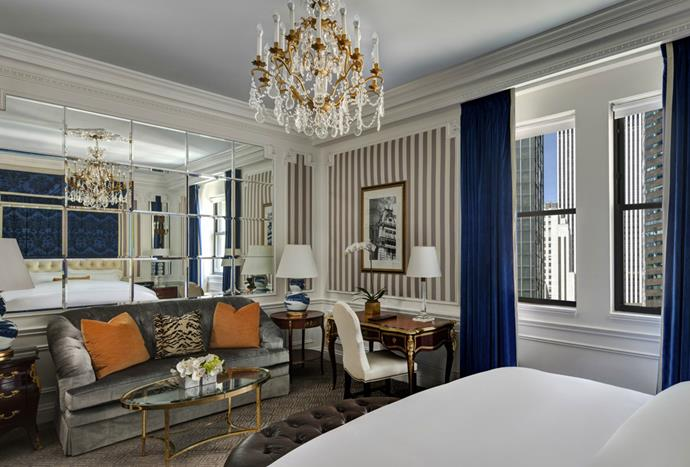"**St. Regis, New York** <br><br> Bold blue hues, striped wall coverings and custom velvet furnishings define the sophisticated tone of the rooms within the St. Regis New York. *Photo: [St. Regis New York](http://www.stregisnewyork.com/en/rooms/superior-guest-room|target=""_blank"")*"