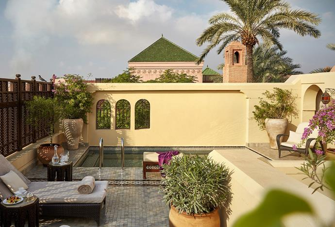 "**Royal Mansour, Marrakech** <br><br> The Royal Mansour in Marrakech boasts traditional Riad architecture that spans across three different floors. Each Raid is modelled on a Moroccan house with its own distinct character. Pictured above is a private terrace with a large plunge pool and lounge tent. *Photo: [Royal Mansour](https://www.royalmansour.com/en/the-riads/exclusives-riads/privilege-riad|target=""_blank"")*"
