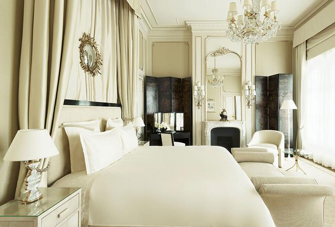 "**Hotel Ritz, Paris** <br><br> Asian lacquer, gilded mirrors, velvet banquettes and the pairing of black with white create a sense of timeless luxury in the Hotel Ritz in Paris. The room pictured above is inspired by Coco Chanel, who decided to live in the hotel for 34 years. * Photo: [Hotel Ritz](https://www.ritzparis.com/en-GB/luxury-hotel-paris/prestige-suites/coco-chanel-suite |target=""_blank"")*"
