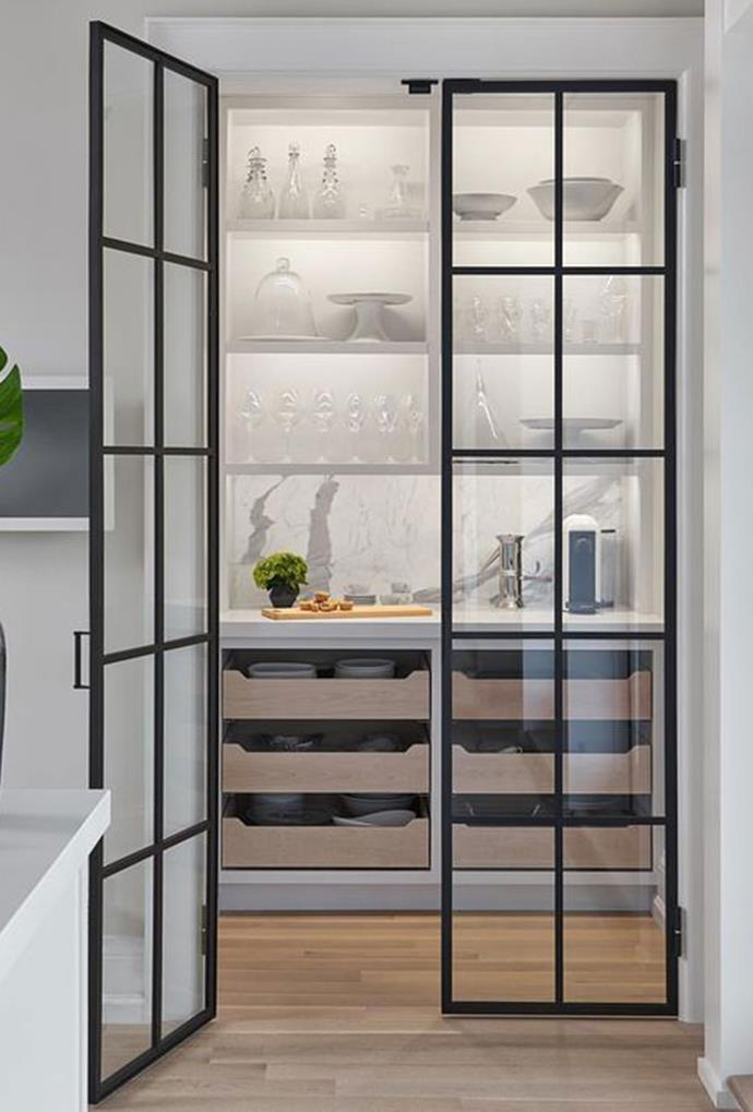"Glass doors with black steel frames create a luxurious entry point into this [Haven.studios butler's kitche](https://www.pinterest.com.au/pin/293156256996598806/?nic_v1=1aZS2ag4akRTJ1hjWAGb5%2BlDJxbL9lsNBFq3coojjpVq%2FvzXWnCQa0lGhvGTKg%2BB79|target=""_blank""