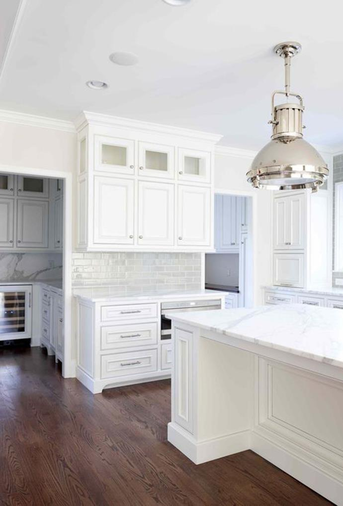 "The space behind the kitchen in this home has been used to create two separate rooms including a scullery and butler's pantry. Accents of marble in this butler's pantry match the island in the main kitchen pinned by [L Kae Interiors](https://www.pinterest.com.au/pin/243194448604495007/|target=""_blank"")."