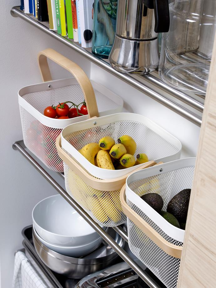 RISATORP baskets, $14.99 from IKEA, are a great way to store fresh fruit or kids lunches and snacks.